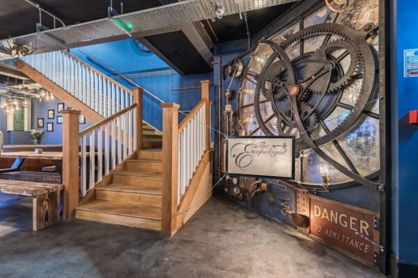 Clock and stairs at The Escapologist