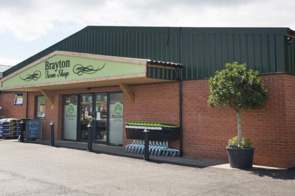 An image of the front of the farm shop building