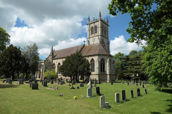 St Helens Church and gravestones in Escrick
