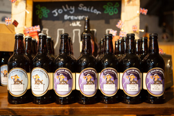 Row of beer bottles from local brewery