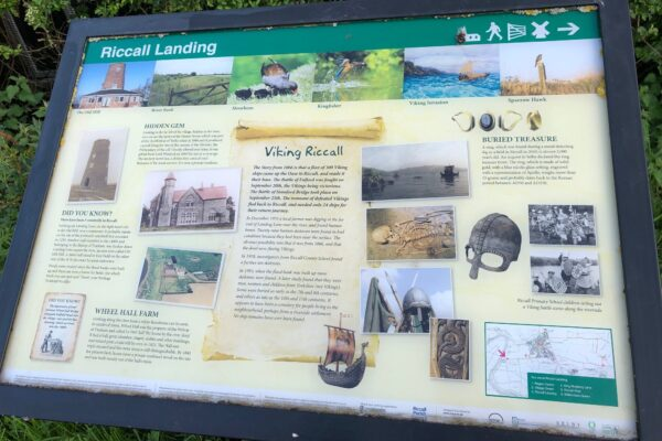 Information board with facts about Riccall Landing