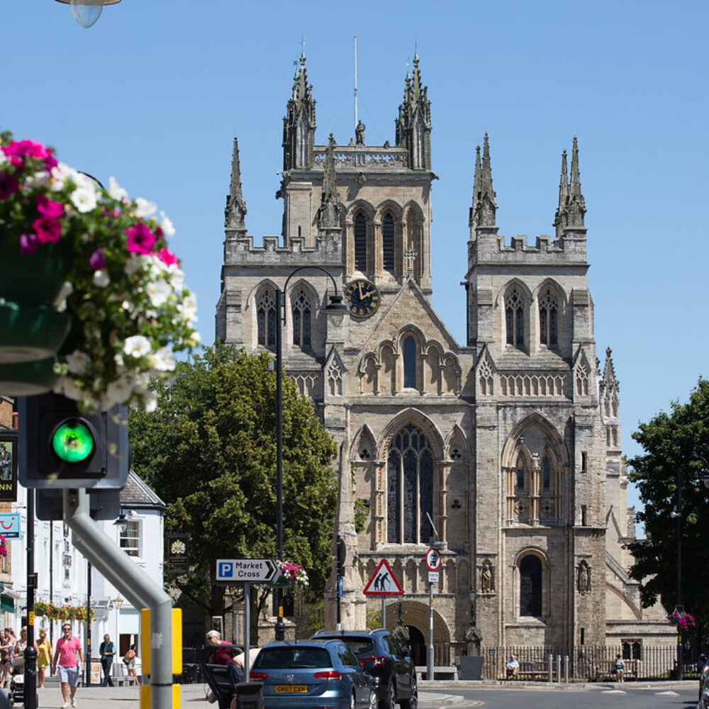 Looking down Selby High Street towards Selby Abbey