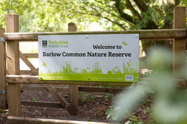 Sign on gate for Barlow Common Nature Reserve