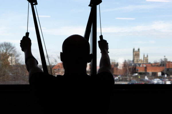 Someone training with the view of the Abbey in the background