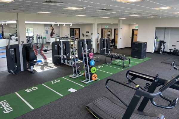 A picture of weights and gym equipment