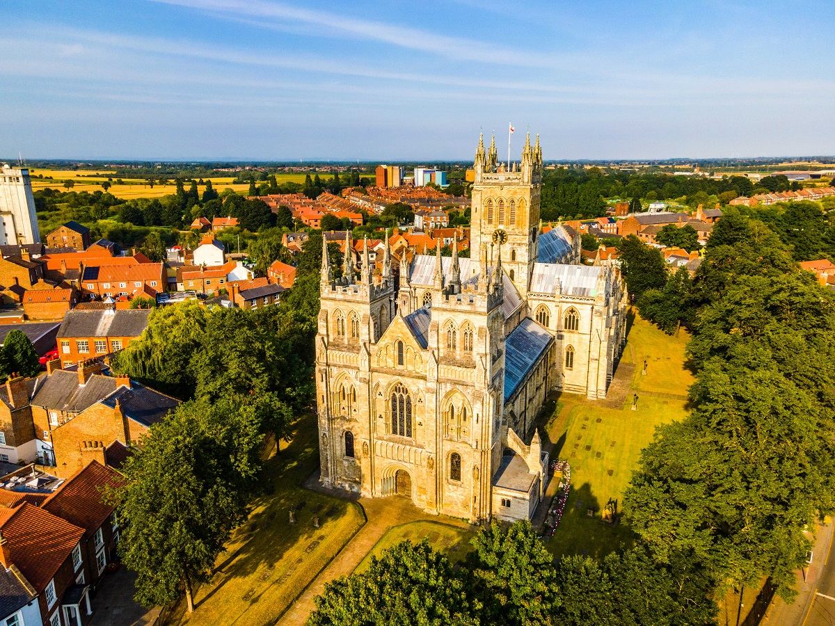 Drone image looking down on Selby Abbey