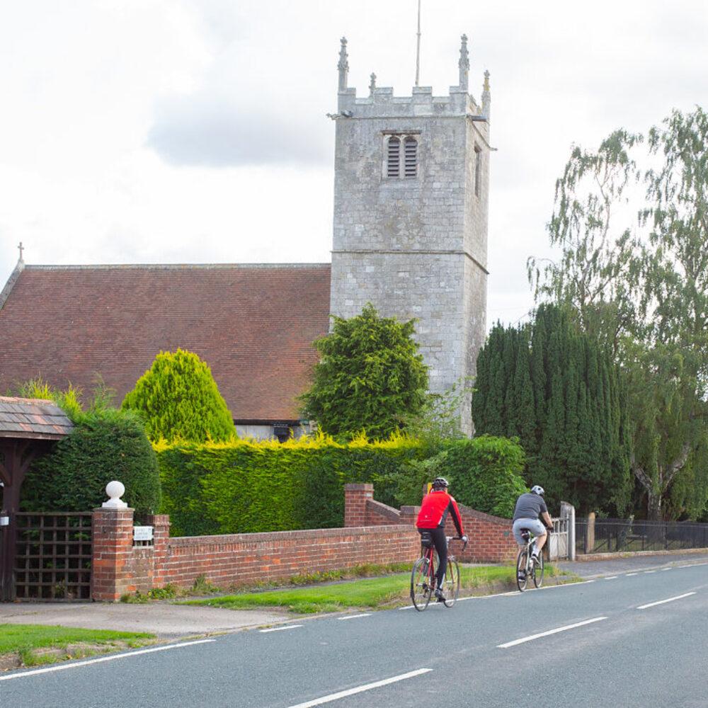 Church and road through village