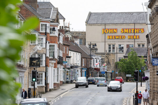 View of Tadcaster High Street looking towards the brewery