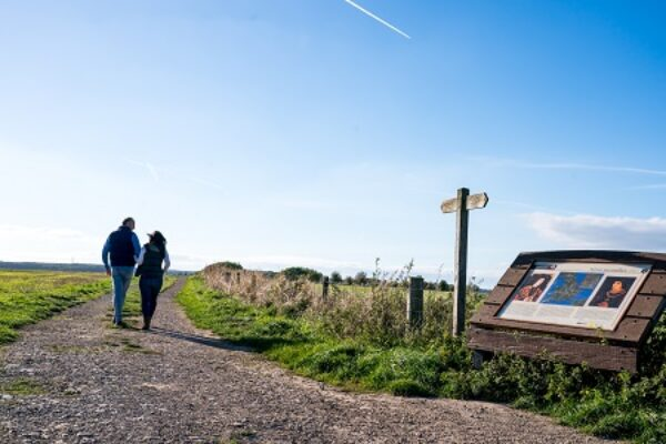 Couple walking on the Towton Battlefield Trail