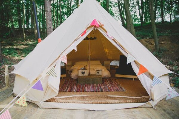 Woodland Bell Tent at Hazlewood Castle Glamping