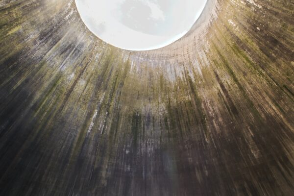 Inside a cooling tower looking up to the top