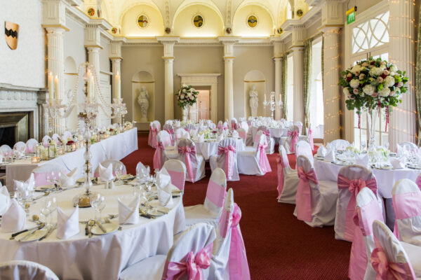 The Great Hall at Hazlewood Castle, dressed for an event