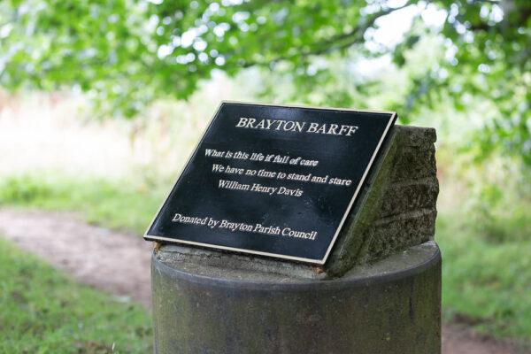 Plaque at Brayton Barff
