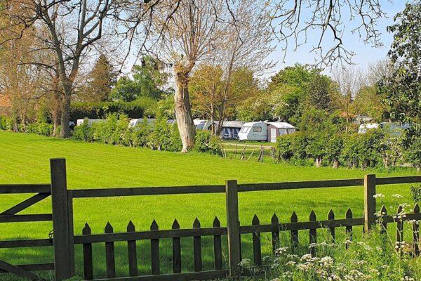 The caravan field at The Castle Inn in Cawood