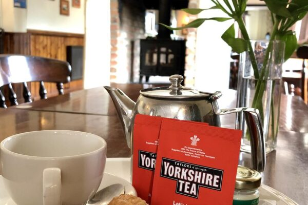 A pot of Yorkshire tea on the table at The Drover's Arms in Skipwith