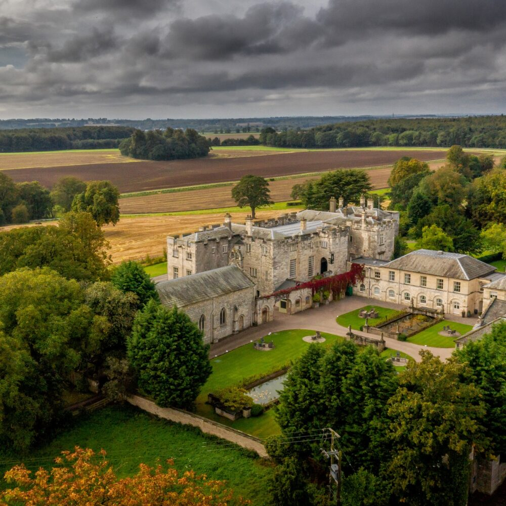 Aerial image of Hazlewood Castle. Credit: Chris Chambers Photography