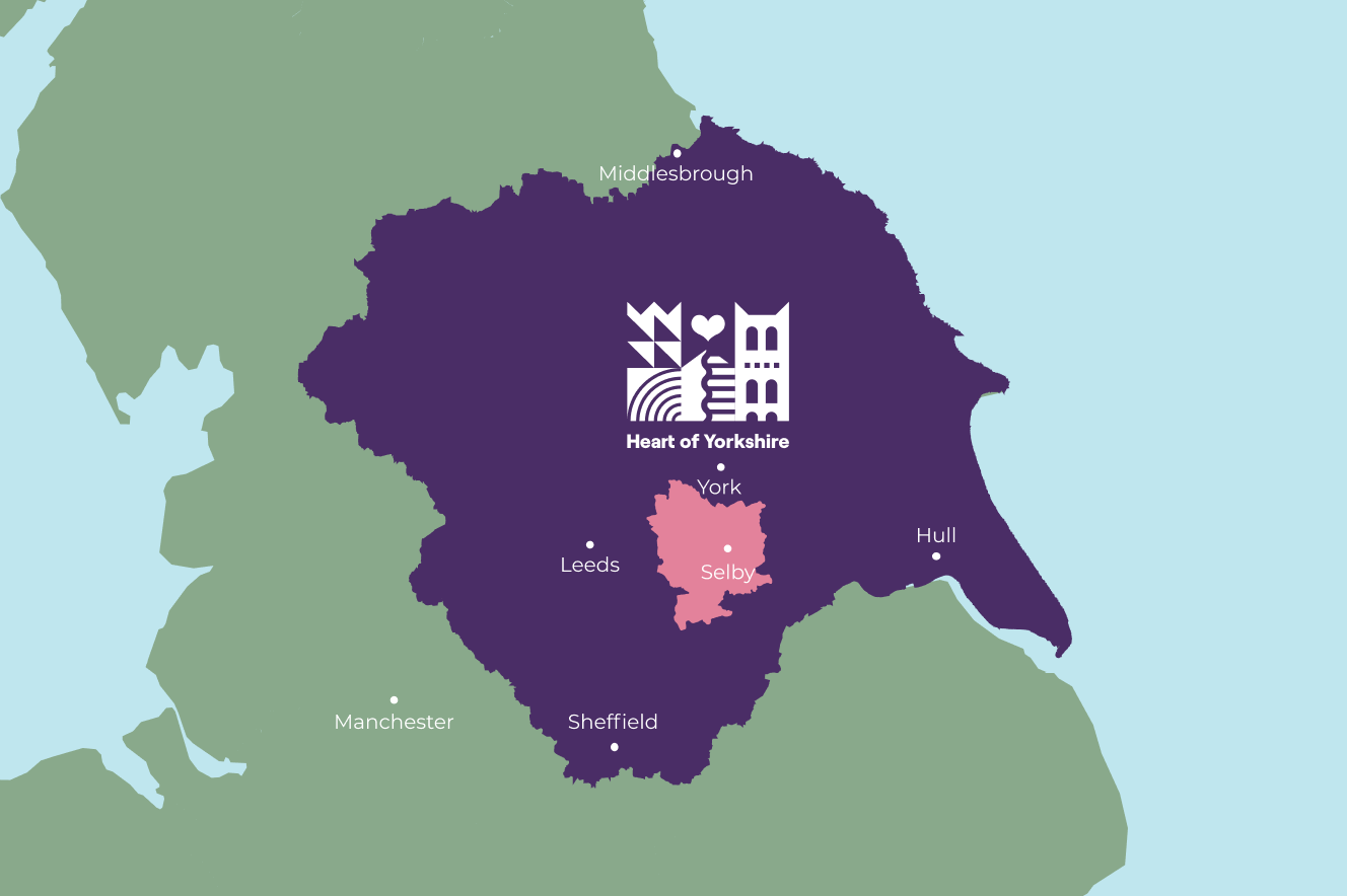 Map of Yorkshire with Selby District highlighted