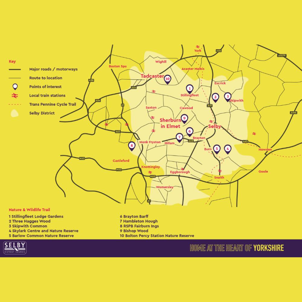 Map of Sherburn in Elmet & Tadcaster