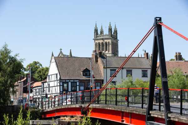 Looking over the Toll Bridge in Selby, towards Selby Abbey