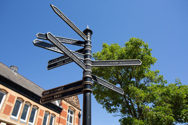 Wayfinding signposts in Selby