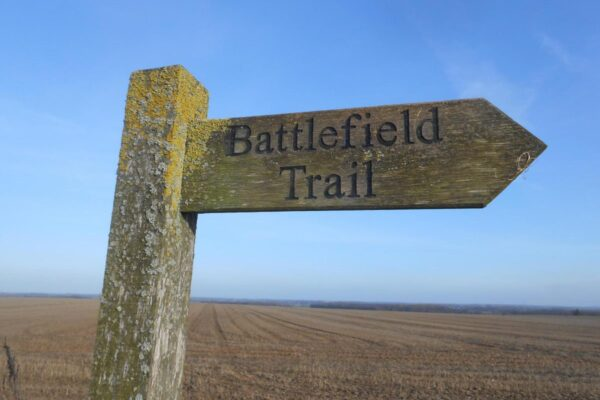 Wooden signpost for the Towton Battlefield Trail