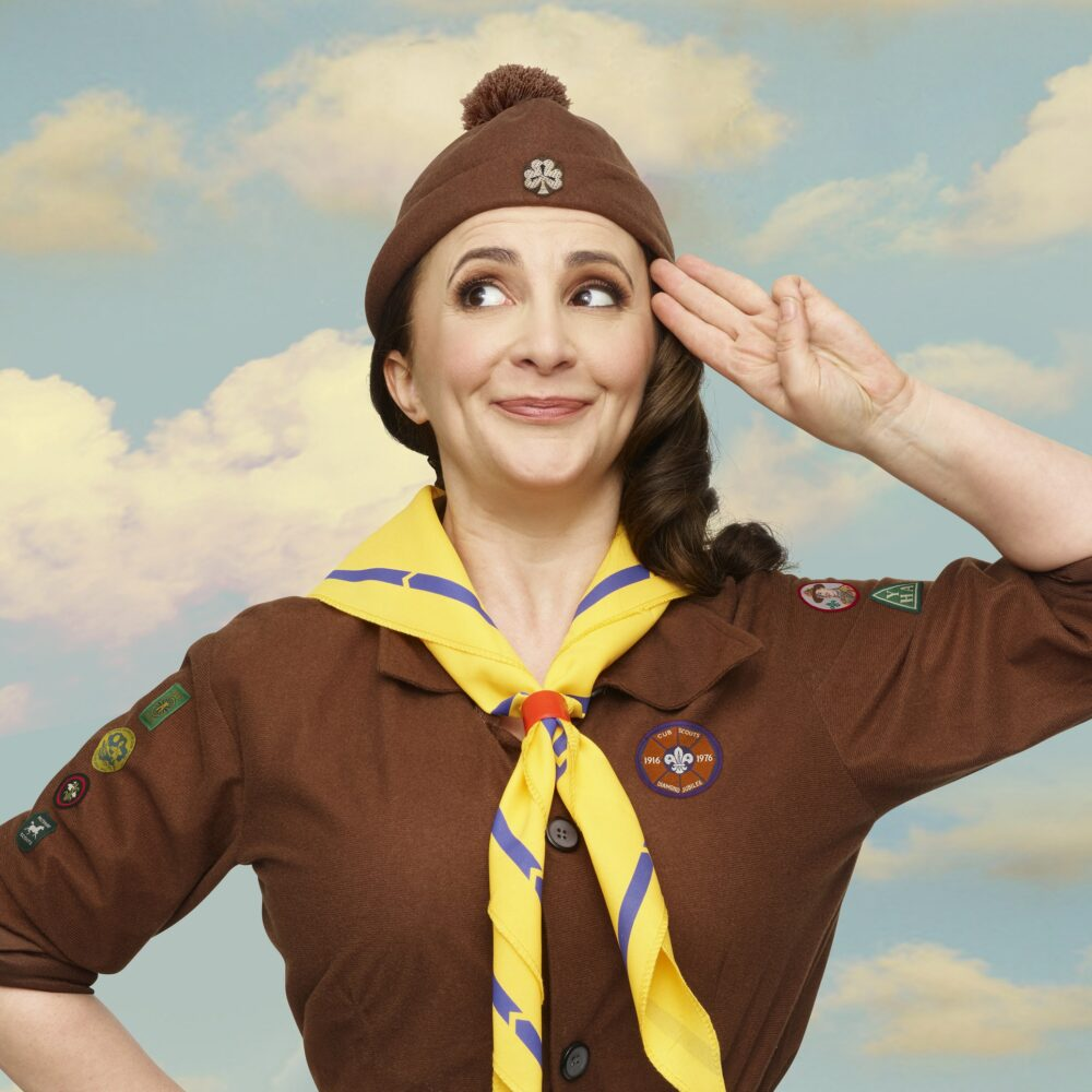 A picture of Lucy Porter in Brownies uniform