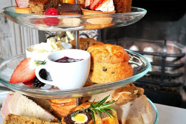 An image of an afternoon tea stand with Autumnal Afternoon Tea at Carlton Towers