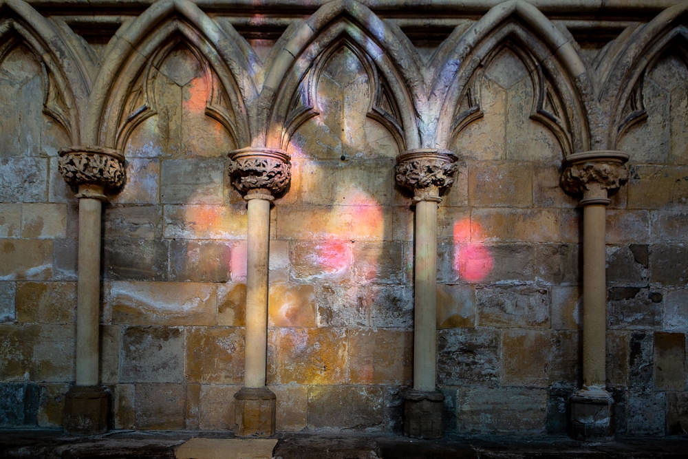 Lights reflecting at Selby Abbey
