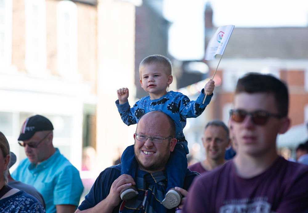 Boy on shoulders in Tadcaster