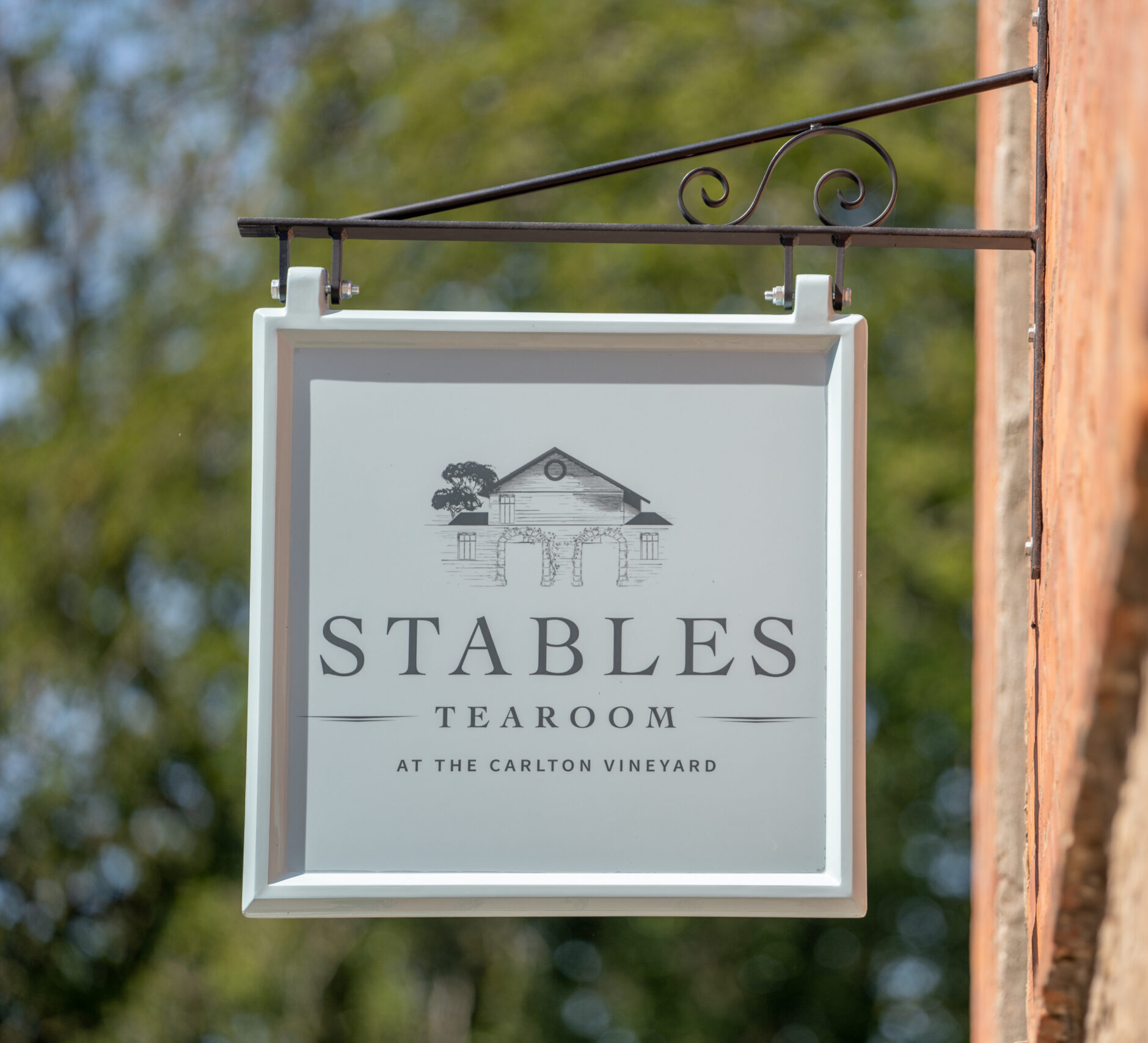 Sign at the entrance of The Stables Tearoom at The Carlton Vineyard